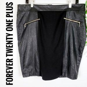 Forever 21+ Black Mini Skirt Faux Leather Zip 1X